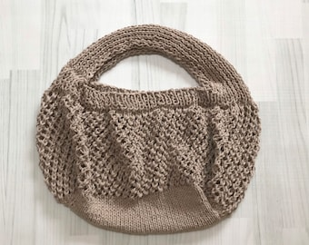 Hemp bag farmers market mesh tote cocoa brown taupe hand knitted