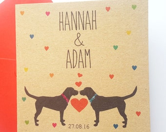 Personalised Dog Wedding Card - Labrador Wedding Card- Names and Date