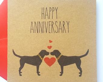 Dog Anniversary Card - Black Labrador Happy Anniversary Card