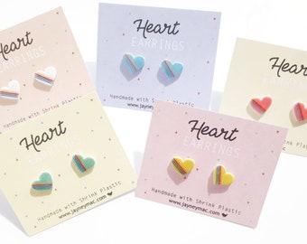 Heart Earrings - Shrink Plastic Heart Stud Earrings, white or pink