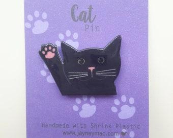 Black cat pin - Cat paw, shrink plastic cat pin
