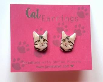 Grey Cat Earrings - Shrink Plastic Grey Tabby Cat Earrings