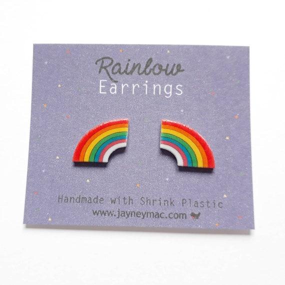 crazy plastic shrink plastic rainbow earrings rainbow earrings