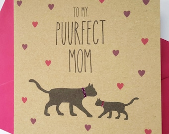 Black Cat Mother's Day Card - To my Puurfect Mom