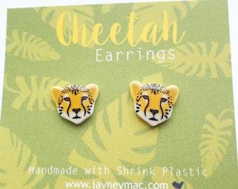 Cheetah Earrings - Shrink Plastic Cheetah Stud Earrings