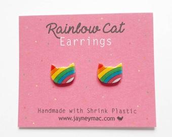 Rainbow Cat Shrink Plastic Earrings