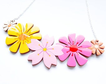 Flower necklace, hand painted colourful lasercut wooden statement necklace