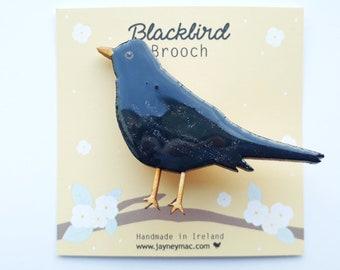 Blackbird Brooch, wooden hand painted blackbird brooch
