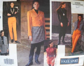 Vogue Sport 2966, Misses Jacket Dress Top Skirt Pants Pattern, Size 6 8 10, Factory Folded Uncut, Vintage 1992, Sewing Pattern