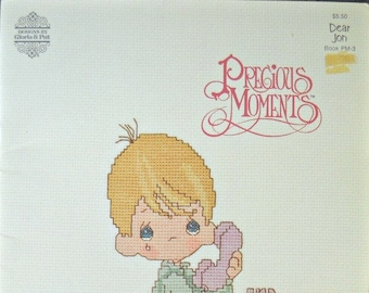 Precious Moments Dear Jon Cross Stitch Booklet PM-3, by Gloria and Pat, Vintage 1982, Cross Stitch Patterns