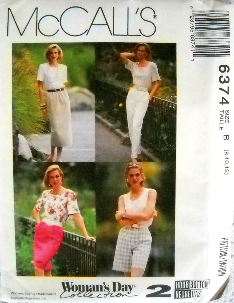 McCall's 6374 Misses Skirts Pants and Shorts Pattern Size image 0