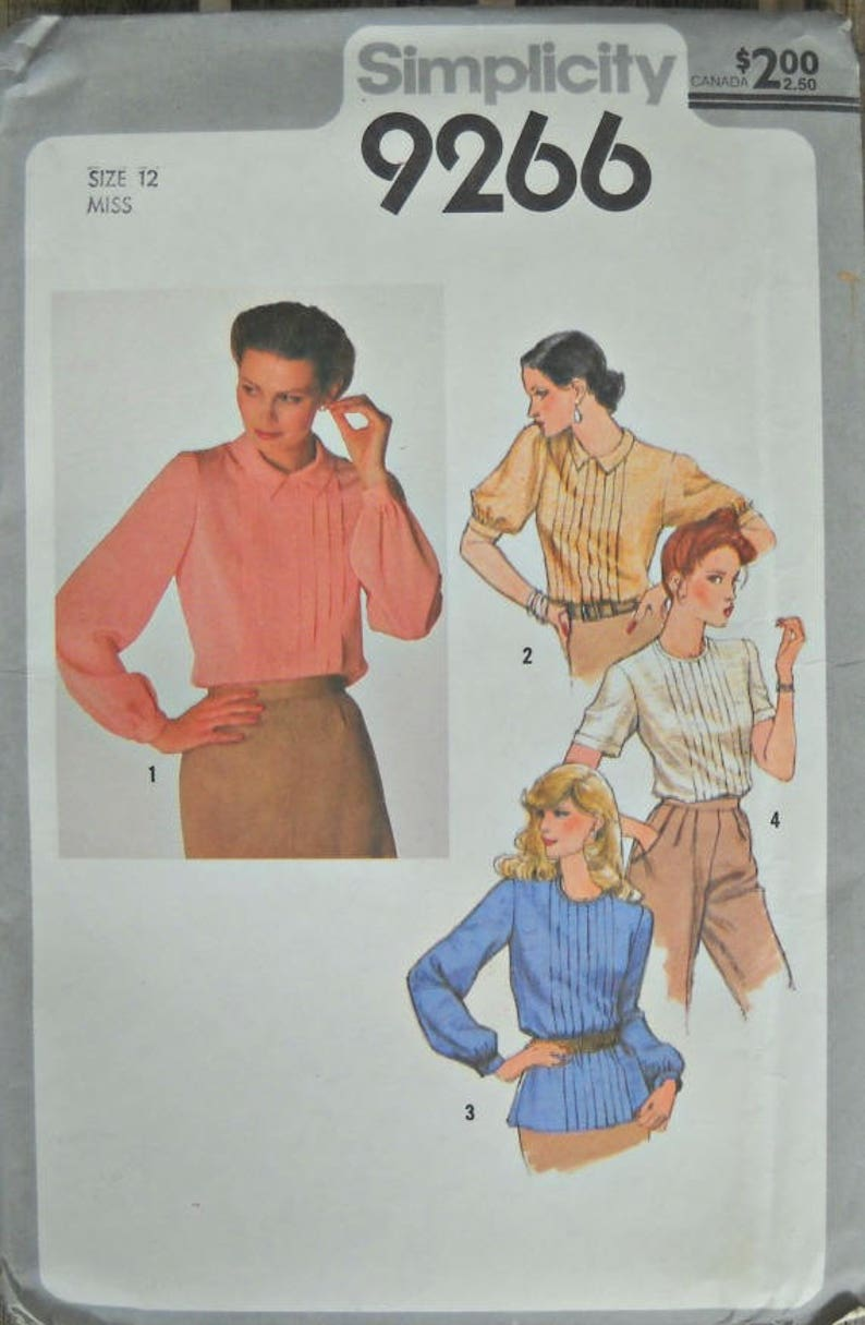 Simplicity 9266 Misses Blouse Pattern Size 12 Factory Folded image 0