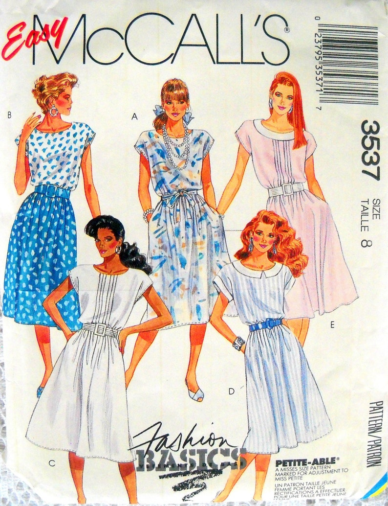McCall's 3537 Misses Dress and Tie Belt Pattern Size 8 image 0