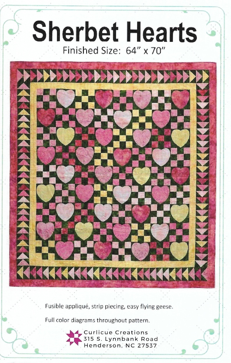 Sherbet Hearts Quilt Pattern Pink Lemonade Version by Curlicue image 0