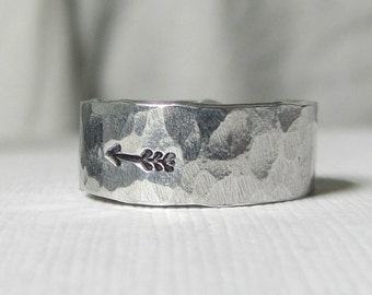 Arrow Ring- Sterling Silver-- Hammered