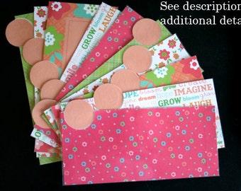 LAMINATED Cash Envelope System in Pink Floral (10 envelopes)