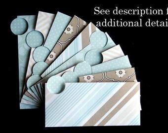 LAMINATED Cash Envelope System in Brown Stripes (10 envelopes)