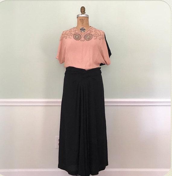 Vintage 40s Embellished Salmon Pink and Black Rayo