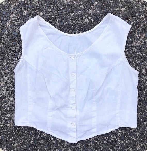Vintage 30s White Cotton Undergarment Blouse Bra L