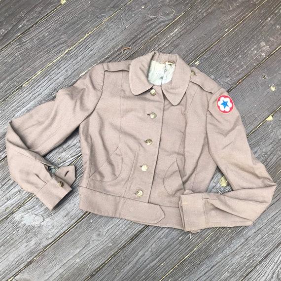 Vintage 50s Women's Brown Wool Cropped Uniform Jac