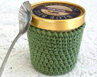 Ice Cream Cozy - Sage Green Pint Ice Cream Sleeve - Handmade Crochet Ice Cream Holder -Pint Size Cozy Cover - Cottage Decor
