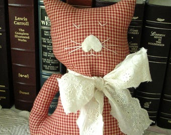 Stuffed Cat - Red/Cream Check Fabric Kitty Pillow - Cat Shabby Rustic Home Decor - Cat Lover Gift - Decorative Cat