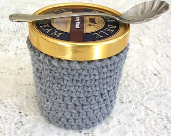 Gray Pint Ice Cream Sleeve - Handmade Crochet Ice Cream Cozy - Grey Ice Cream Holder -Pint Size Cozy Cover - Cottage Decor