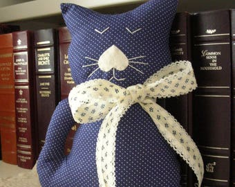 Handmade Stuffed Cat - Blue Polka Dot Fabric Kitty Pillow - Shabby Cottage Chic Home Decor - Cat Lover Gift - Decorative Cat Doll