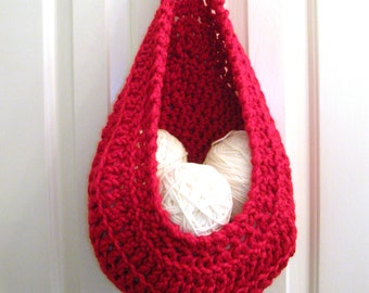 Red Hanging Crochet Basket - Modern Wall or Door Storage Basket - Nursery Decor - Minimalist Decor - Doorknob Basket