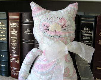 Handmade Stuffed Cat - Paisley Pastels Fabric Kitty Pillow - Shabby Cottage Chic Home Decor - Cat Lover Gift - Decorative Cat Doll