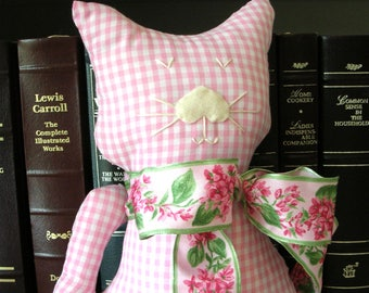 Handmade Stuffed Cat - Pink Gingham Check Fabric Kitty Pillow - Gingham Cat Shabby Cottage Chic Home Decor - Cat Lover Gift - Decorative Cat