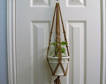 Small Macrame Plant Hanger - Neutral Macrame Pot Holder - Handmade Patio Decor - House Plant Pot Hanger - Boho Decor - Pot Plant Holder