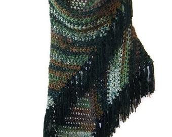 Crochet Fringe Shawl -  Black Fringe Wrap Crochet Shawl - Green Brown Black Camo Long Boho Shawl
