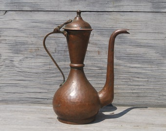 Copper Coffee Pot, Antique Handmade Forged Copper Coffee Pot