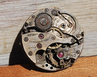 Wrist Watch Movement Parts with Jewels, Vintage Steampunk Supplies, Watch Repair, Jewelry