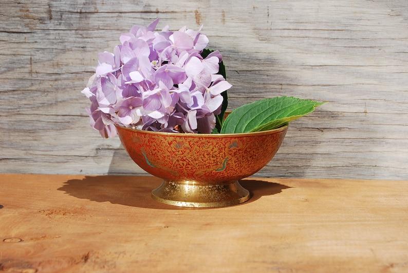 Boho Chic Decor Vintage Hand Painted Brass Bowl