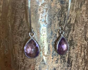 Amethyst Drop Earrings - Gemstone Teardrop Earrings - Long Sterling Silver Dangle Earrings