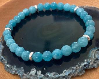 Blue Jade Bracelet - 6mm Jade Bead Bracelet - Boho Bead Bracelet - Stretch Bead Bracelet