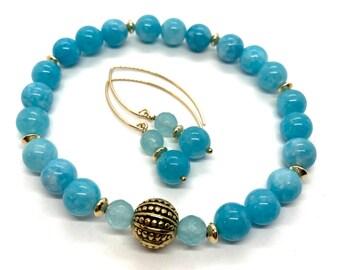 Blue Jade Bracelet, Large, Turquoise Jade Earrings, Jade Jewelry Set. Boho Jewelry