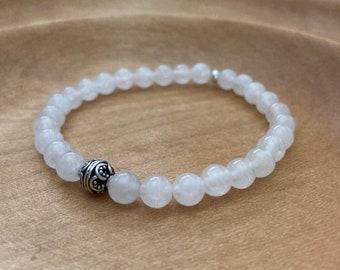 White Jade Bracelet - 6mm Jade Bead Bracelet - Boho Bead Bracelet - Stretch Bead Bracelet