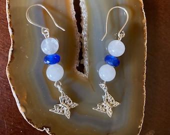 Butterfly Drop Earrings,  Jade Drop Earrings, White Jade Earrings, Blue Jade Earrings,  Silver Jade Earrings