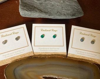 6mm Gemstone Studs, Labradorite Studs, Green Onyx Studs, Minimalist Earrings
