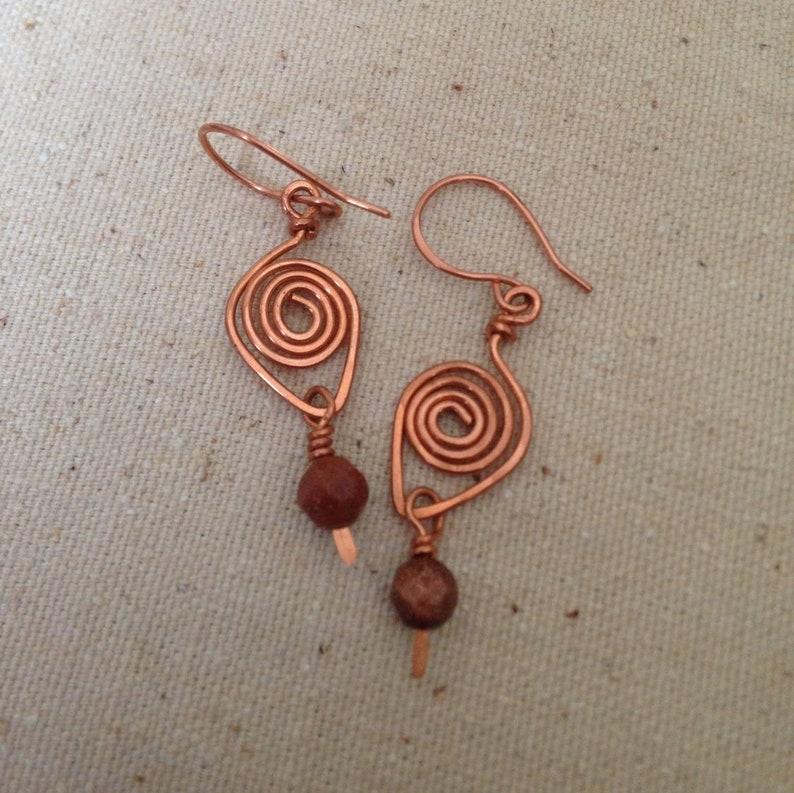 Copper Wire Earrings Jasper Gemstone Earrings Spiral Wire image 0