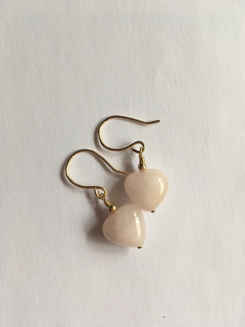 Rose Quartz Heart Earrings Pink Gemstone Earrings Gift for image 0