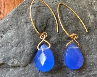 Blue Quartz Teardrop Earrings - Blue Gemstone Drop Earrings - Gold Wire Dangle Earrings