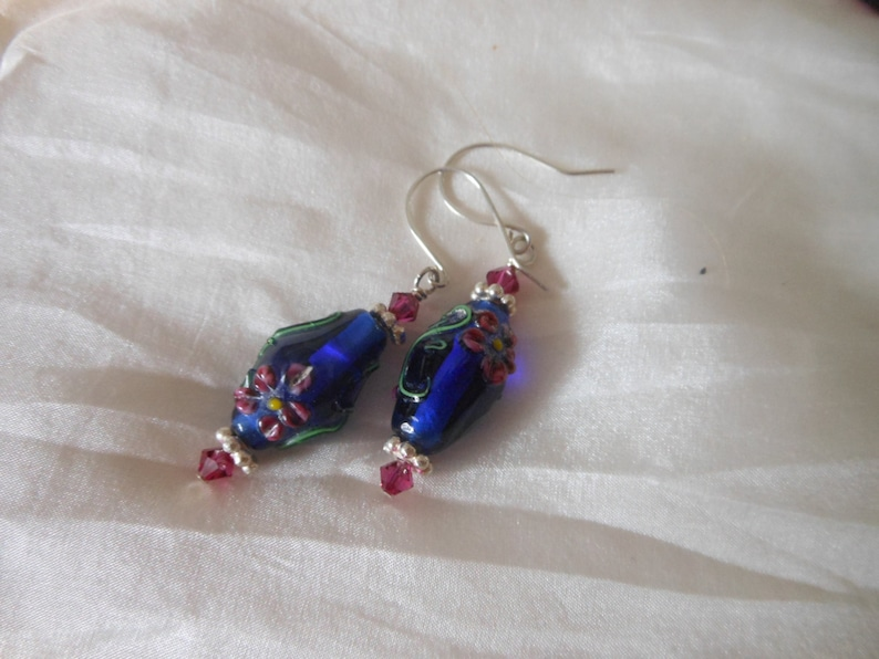 Embossed Glass Flower Lampwork Beads with Swarovski Crystal image 0