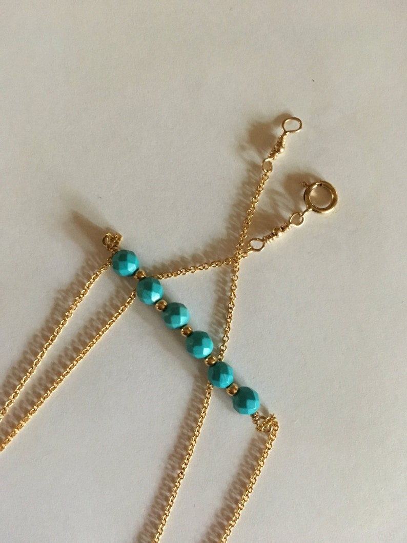 Turquoise Gemstone Layer Necklace Delicate Gemstone Necklace image 0