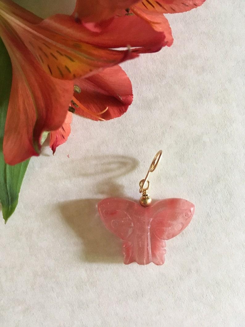 Butterfly Pendant Coral Pendant Cherry Quartz Pendant image 0