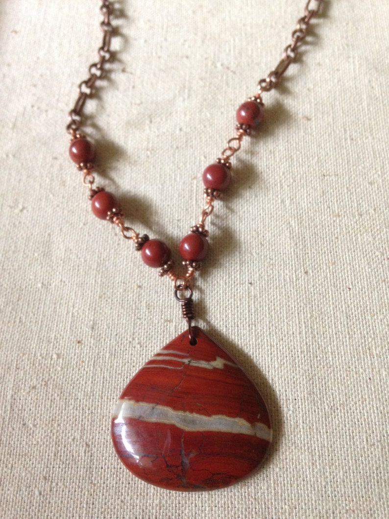 Jasper Pendant Necklace Copper Wire Wrapped Jasper Beads image 0