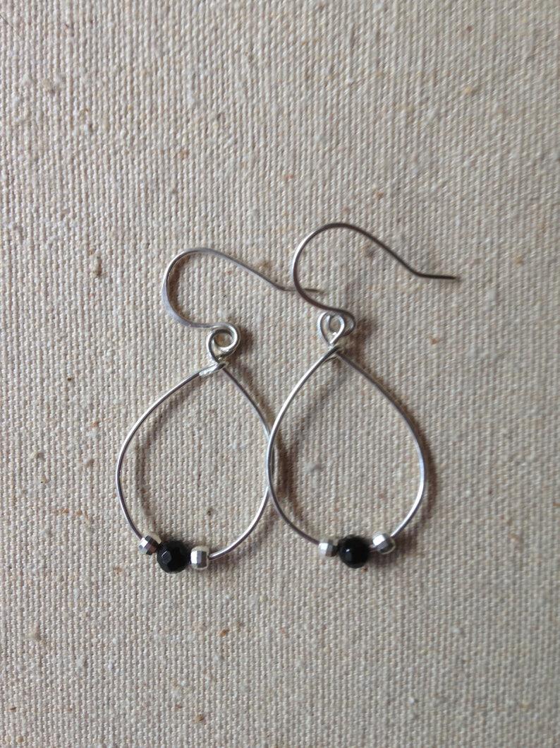 Sterling Silver Earrings Drop Earrings Silver Wire Earrings image 0